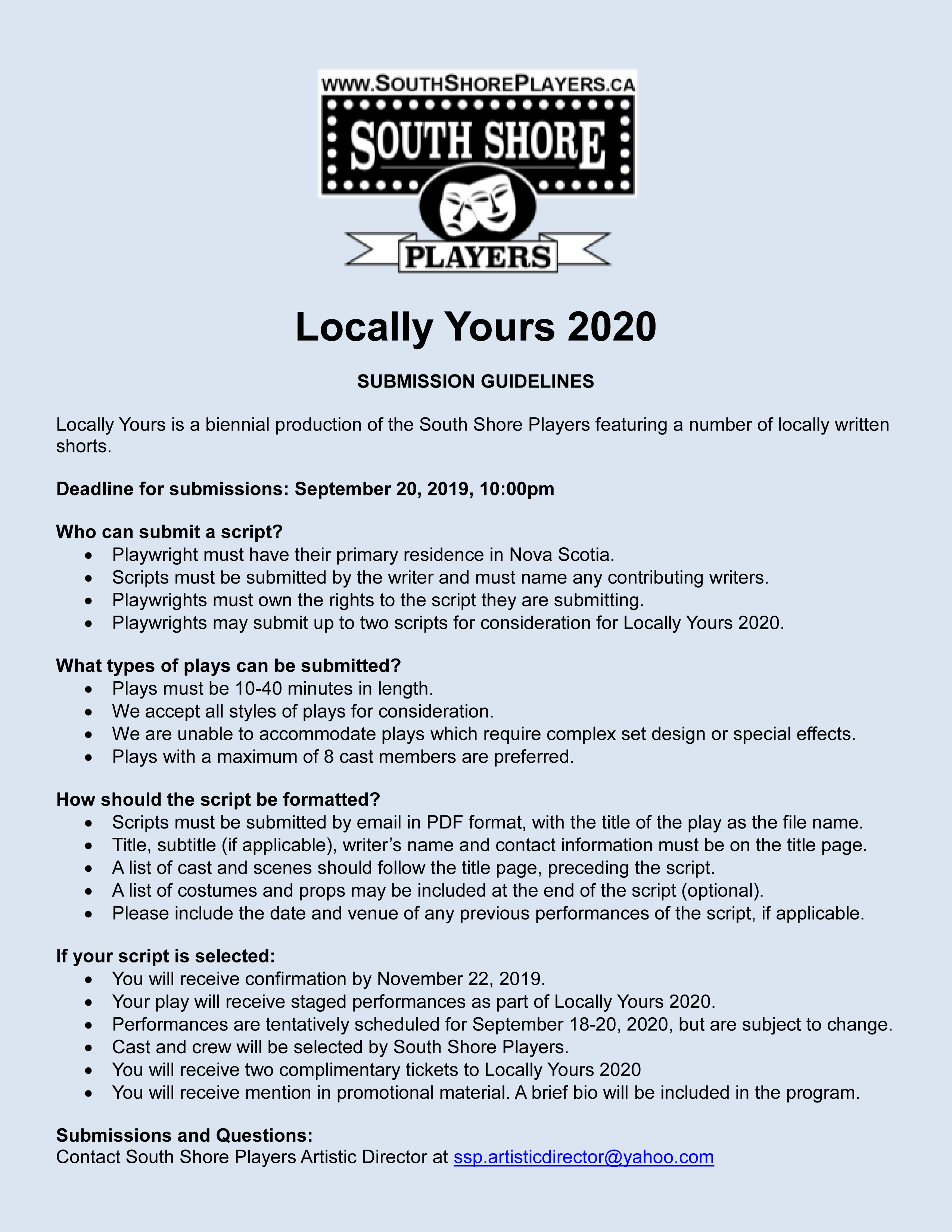 """Call for Submissions for """"LOCALLY YOURS"""" (2020) 